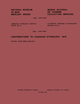 Contributions to Canadian ethnology, 1975