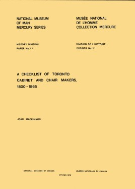 Checklist of Toronto cabinet and chair makers, 1800-1865