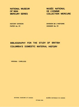 Bibliography for the study of British Columbia's domestic material history